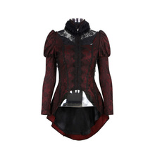 Gothic Outer With Forked Tail And Furry Collar Women Shirt