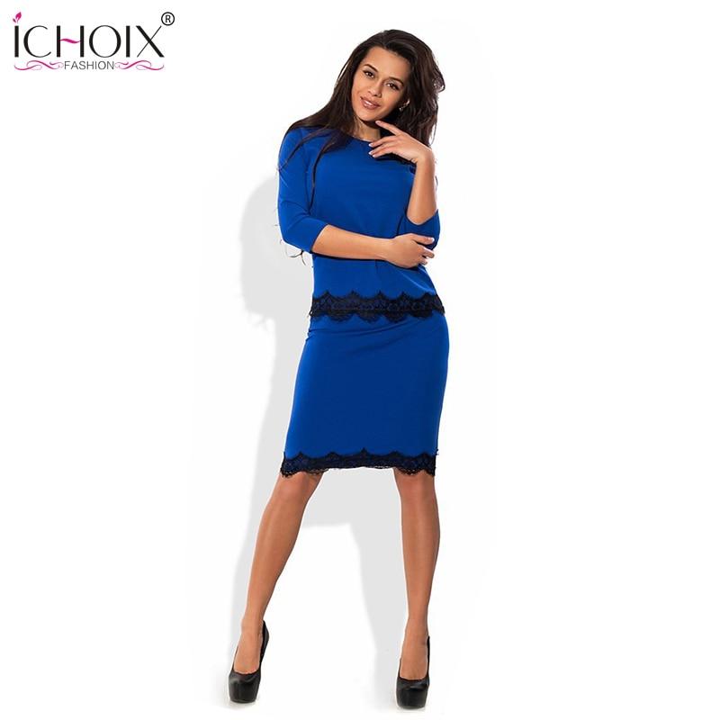 Νέο 2018 φόρεμα μόδας γυναικών τριών τετάρτων δύο τεμαχίων που Plus Plus Lace πατρόν φόρμες και φούστα γυναικών συμβαλλόμενων μερών θέτει εργασίας wear
