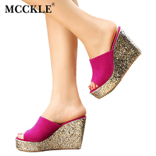 MCCKLE Women Fashion Sandals Woman Slippers Womens Platform Wedge Heel Shoes Summer Peep Toe Glitter New Black Comfortable