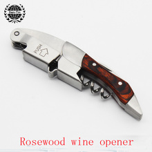 High Quality Multi-function Folding Wine Opener/Wood handle Crokscrew Waiters Bottle Wine Opener w/ Giftbox /Folding knife