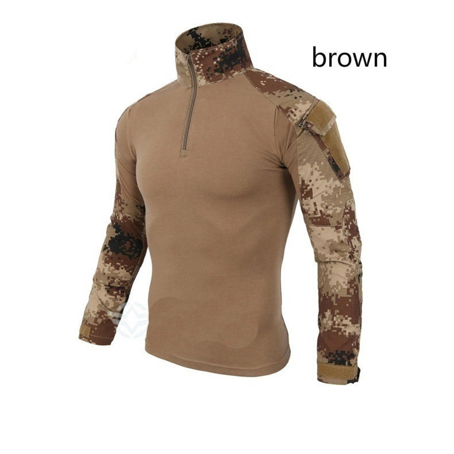 2019 Brand Man Multicam T-shirts Army Camouflage Combat Tactical T Shirt Military Men Long Sleeve T-Shirt Hunt