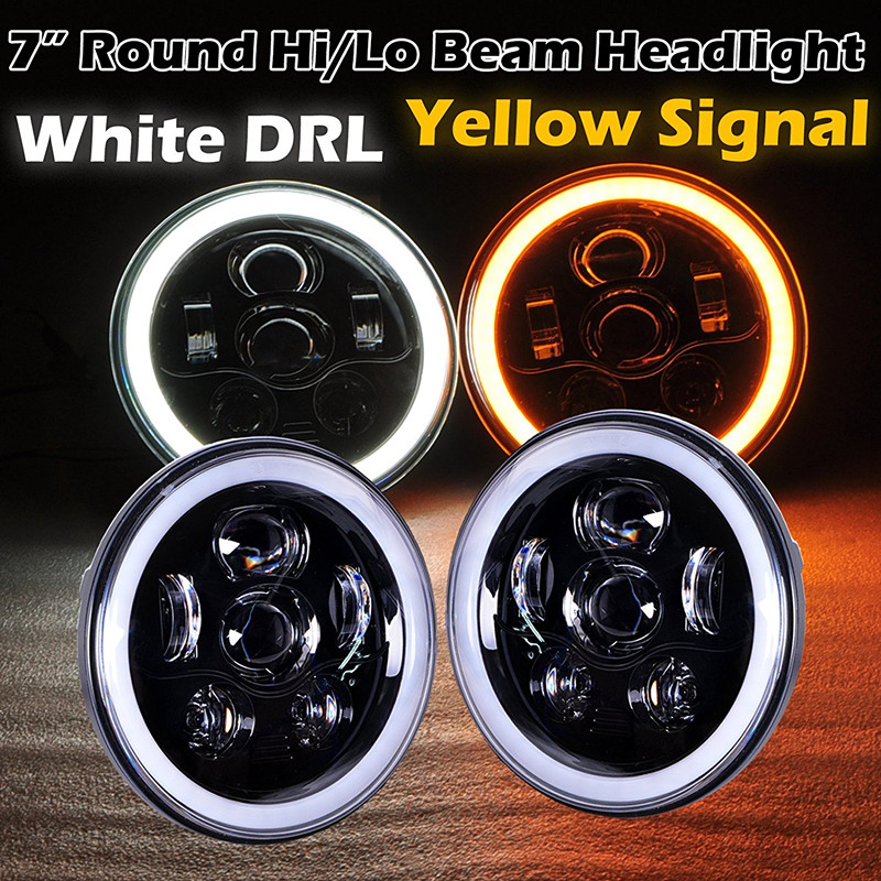 7 inch 45W LED Daymaker headlights for Jeep wrangler JK TJ LJ 7'' Halo angel eye Amber turn signal light Driving Headlamp marloo pair 7 led headlight for jeep wrangler jk headlamp with halo angel eye