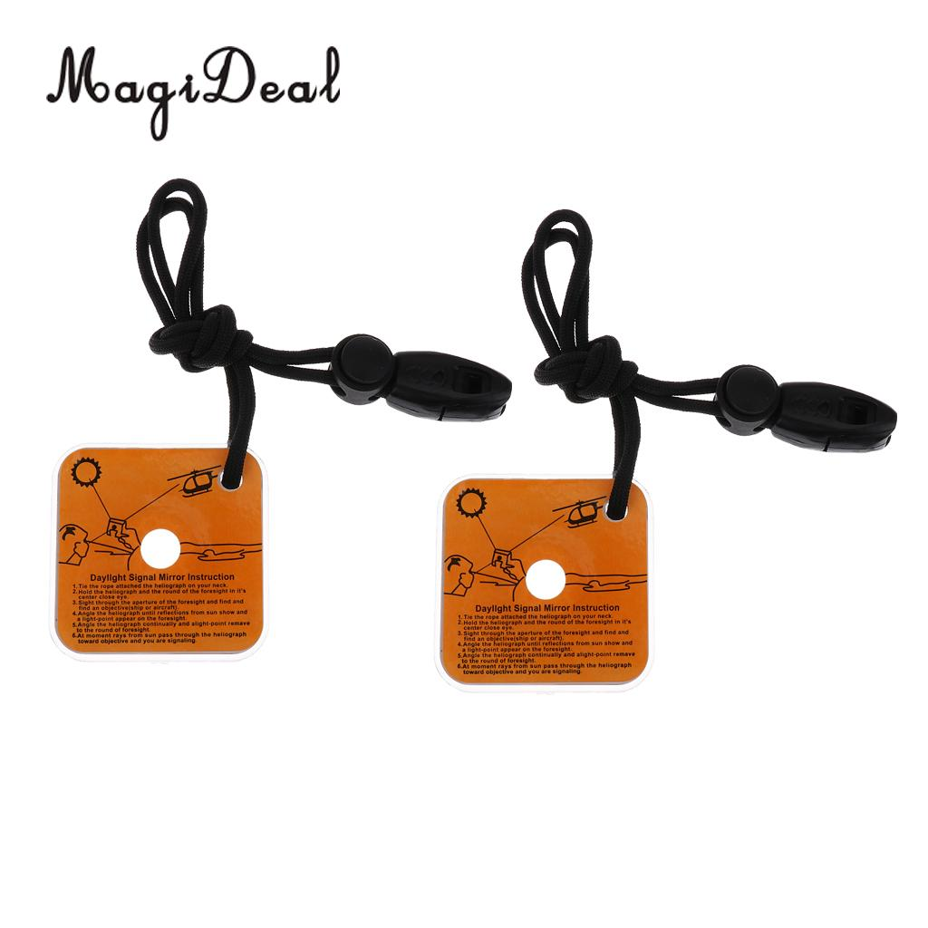 2pcs Outdoor Survival Tool Reflective Signal Mirror With Whistle Boat Marine Rescue Reflector Emergency Safety Gear