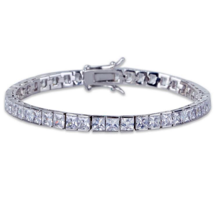 21cm 2018 wedding engagement men jewlery baguette cubic zirconia tennis chain gold silver color sparking bling hiphop bracelet ...