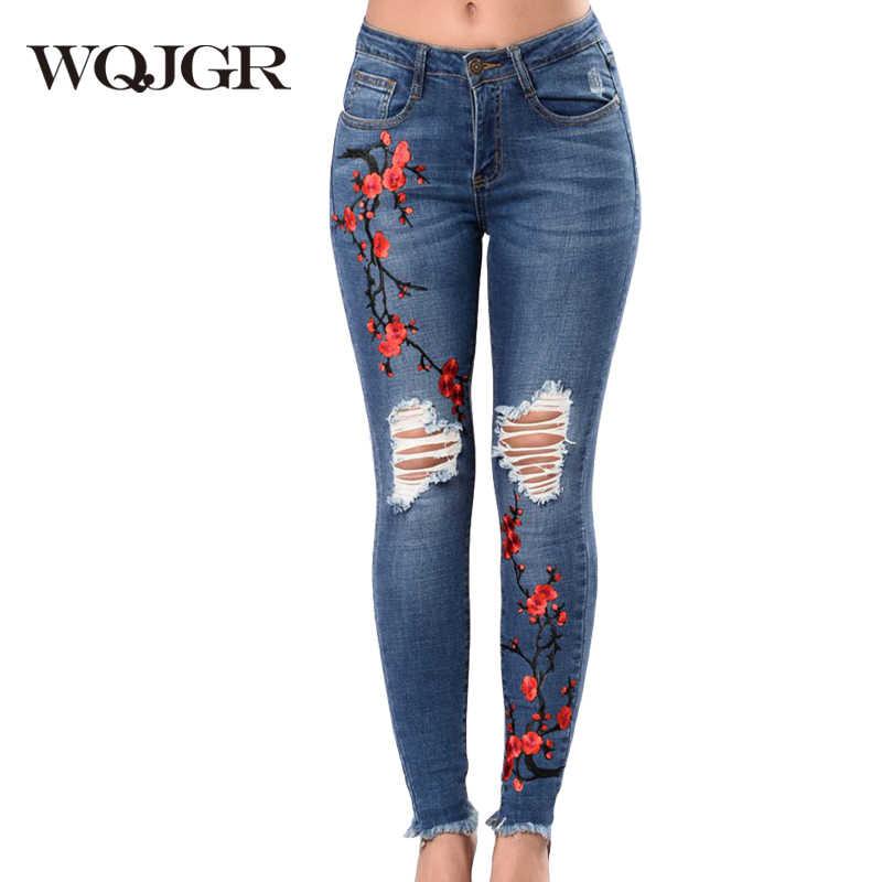 83b2227bde0 WQJGR летние джинсы женские 2018 г. Модные отверстия вышитые высокие  эластичные ковбойские штаны мама тощий