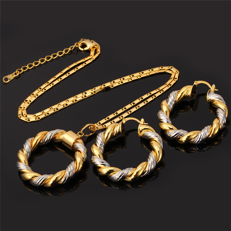U7 Unique Two Tone Necklace Set For Women Trendy Round Pendant