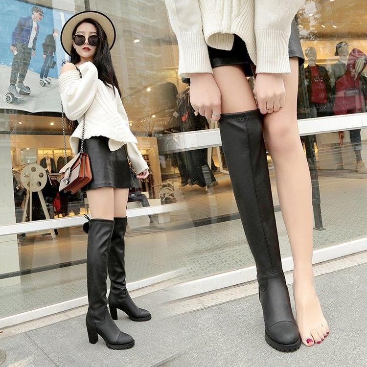 Largo De Lujo Zapato Las Zapatos Mujer Del Bottine Encima Por Marca Muslo 1 Alta Botas Mujeres Negro Invierno Famosa Cuero RwqUdwxSp