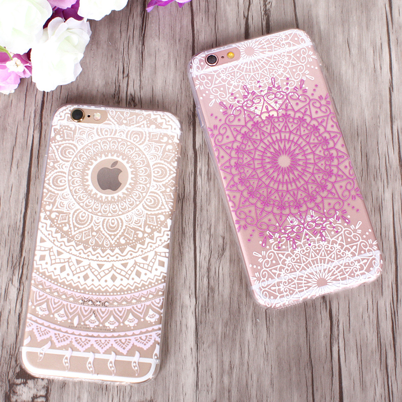 Mandala Flowers Phone Case For iphone X Case For iphone 6S 6 7 8 Plus Case Fashion Ultra Slim Clear Soft TPU Cover Capa Shell