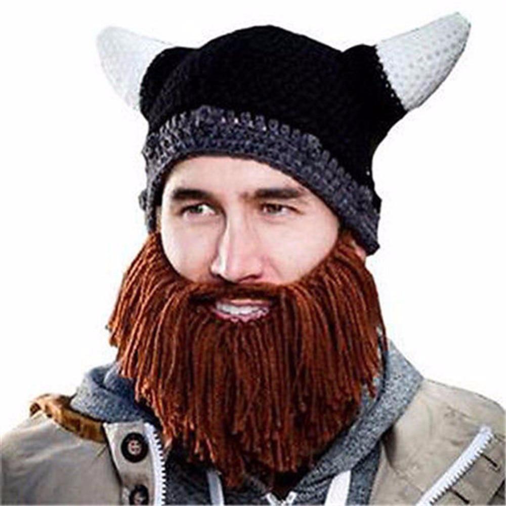Viking Beard Hat Knitting Pattern : Free Shipping Novelty Men Children Knit Viking Beard Hat Vikings Head Mustach...