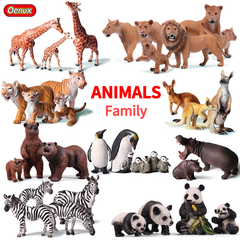 Oenux Original African Wild Lion Simulation Animals Tiger Elephants Action Figure Farm Animal Figurines Model Educational Toys