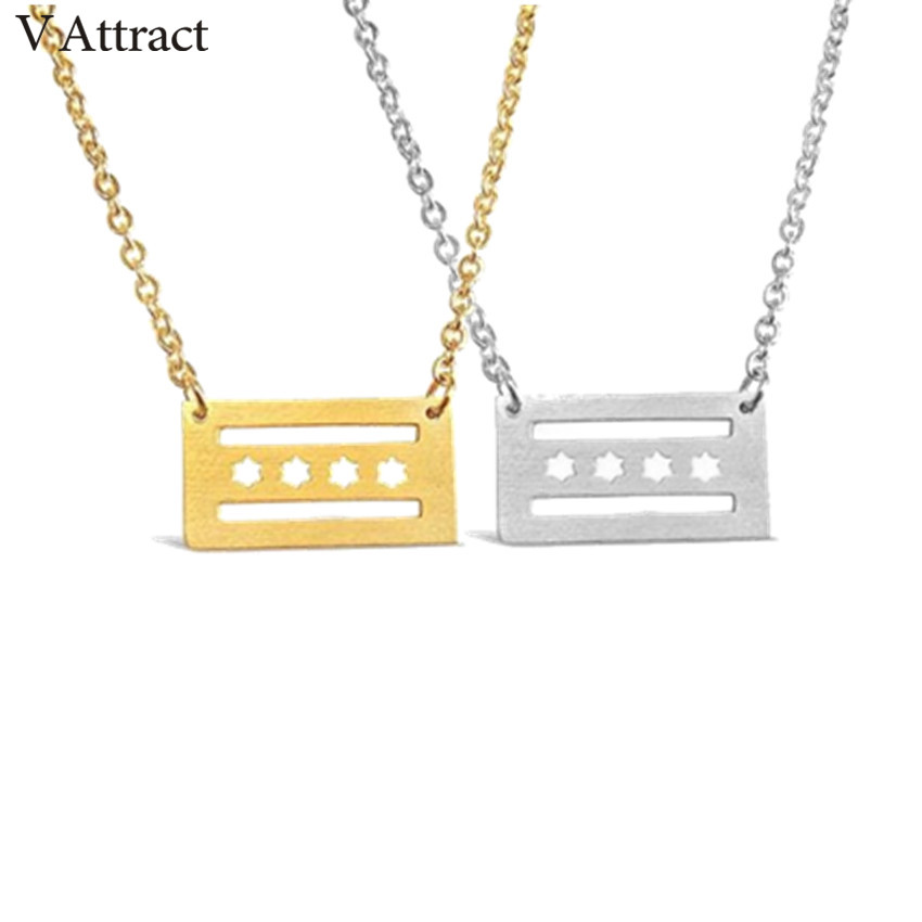 V Attract 10PCS Rose Gold Chicago Flag Necklaces Stainless S