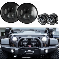 Черный 7 дюймов круглый светодиодный Фары для автомобиля с черным 4 дюймов LED Противотуманные огни для Jeep Wrangler JK TJ FJ unlimited