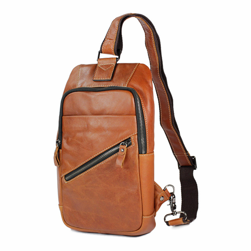 genuine cowhide leather Fashion Removable Shoulder messenger Crossbody orange High quality men travel High-capacity Chest pack