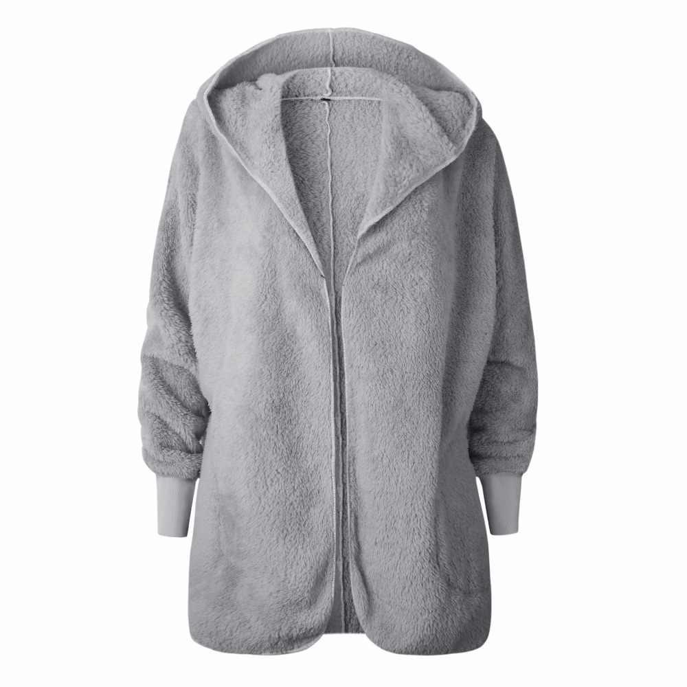 Зимнее теплое пальто из искусственного меха, Женская куртка, Женское пальто из овечьей шерсти, розовое пальто с длинным рукавом, верхняя одежда с капюшоном, шапка, кардиган
