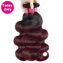 TODAY ONLY 1/ 3 / 4 Bundles Burgundy Brazilian Body Wave Bundles Brazilian Hair Weave Bundles Ombre Hair Bundles Two Tone 1b 99j(China)