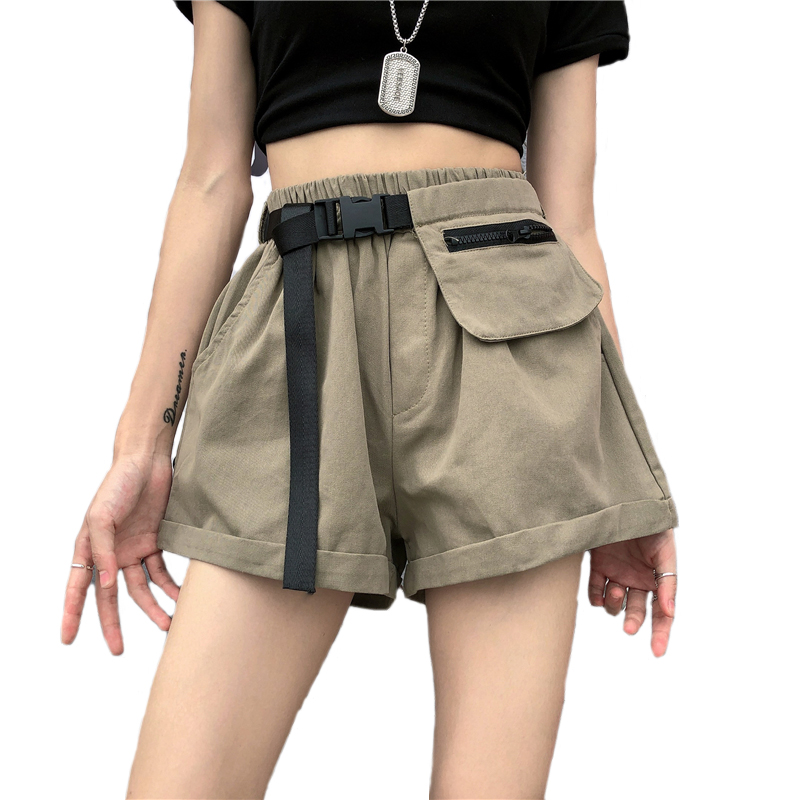 Streetwear Women's High Waist Cargo Shorts With Belt.Safari Style Ladies Multi-pocket Short Pants Summer Loose Women Shorts