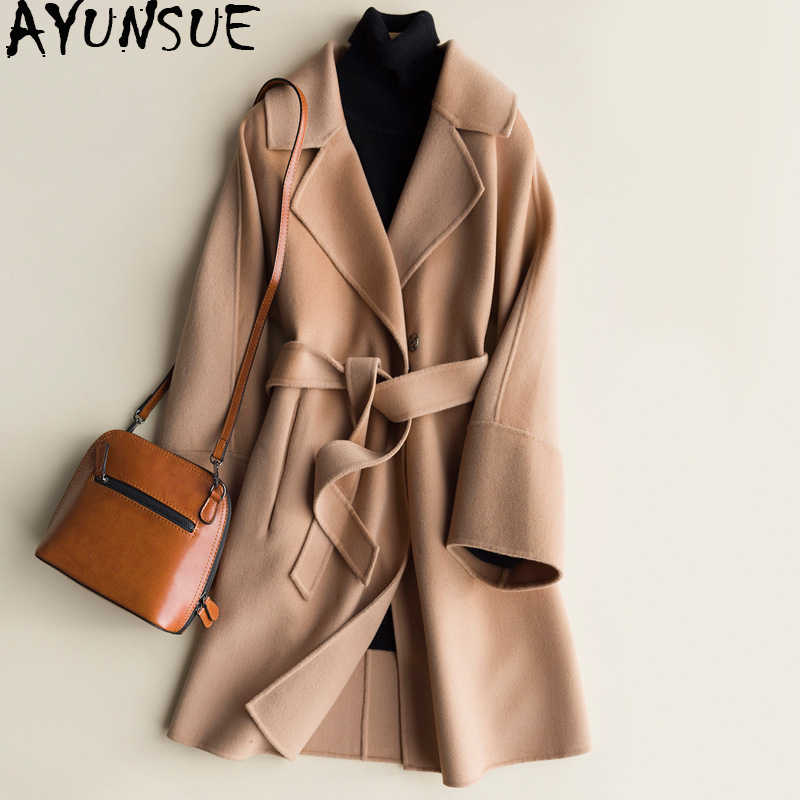 AYUNSUE 100% Wool Coat Women 2019 Autumn Winter Double-sided Cashmere Jackets Medium Length Trench Coat Female Spring CS1616-1