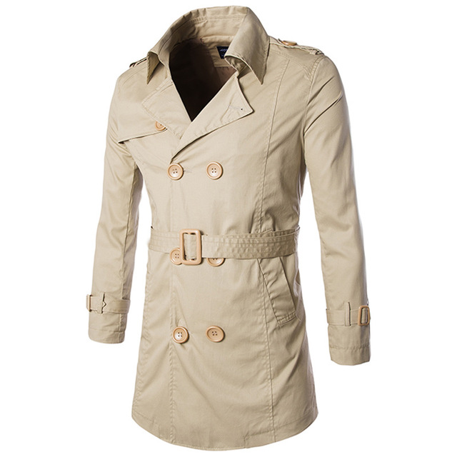 2016 Mens Slim Fit Trench Coat Longa Seção Jaqueta Jaqueta Casual Primavera Outono Desgaste de Homens Double Breasted Jacket Outwear M-XXL