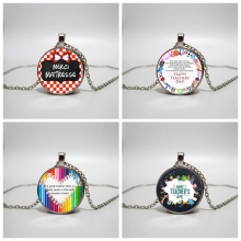 teacher gift Glass Necklace men and women Jewelry Pendant DIY customized photos custom necklace
