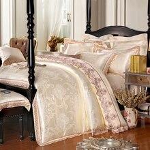 Luxury Jacquard Red/Beige/Pink/Blue Satin Bedding Set Queen King Size Duvet Cover Bedroom Textiles Cotton Bed Linen Sets 4pcs