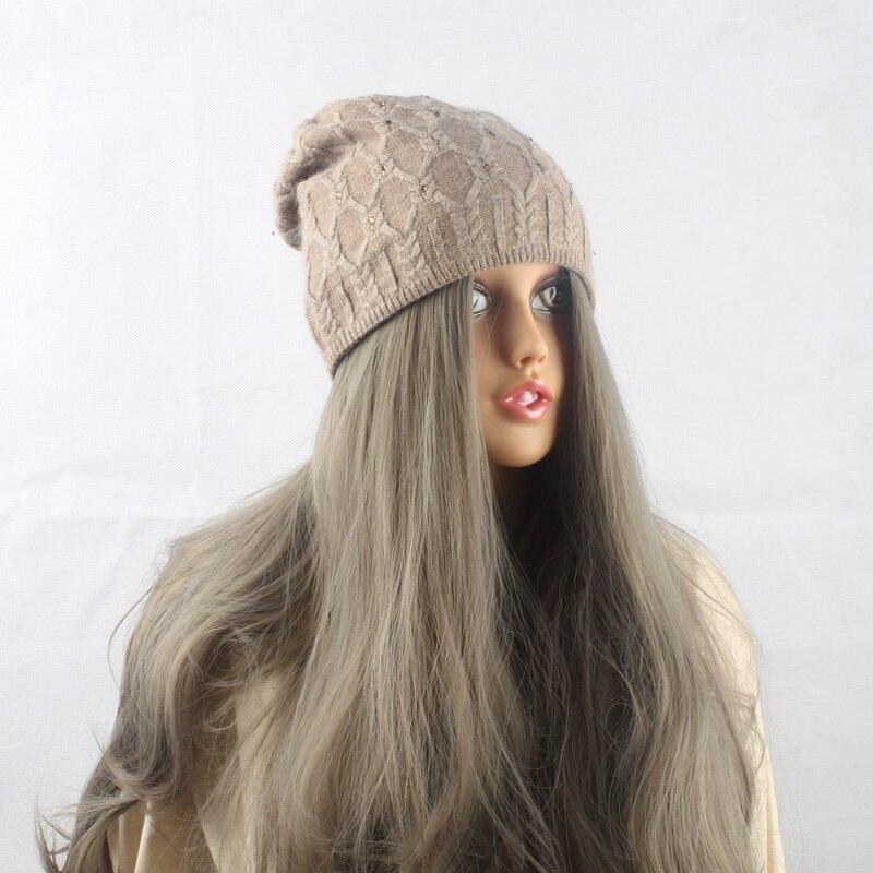 c26c7d18c0 FURANDOWN Brand Winter diamond Beanie Hat Women Knitted Caps Adults Girls  Hats Wool skullies Beanies 2017-in Women's Skullies & Beanies from Apparel  ...