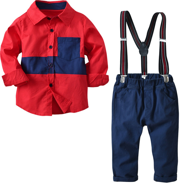 2018 new money Boy cotton long sleeved pendant bow tie shirt pants trousers suit Children's gentry suit 2 3 4 5 6 7 8 years old