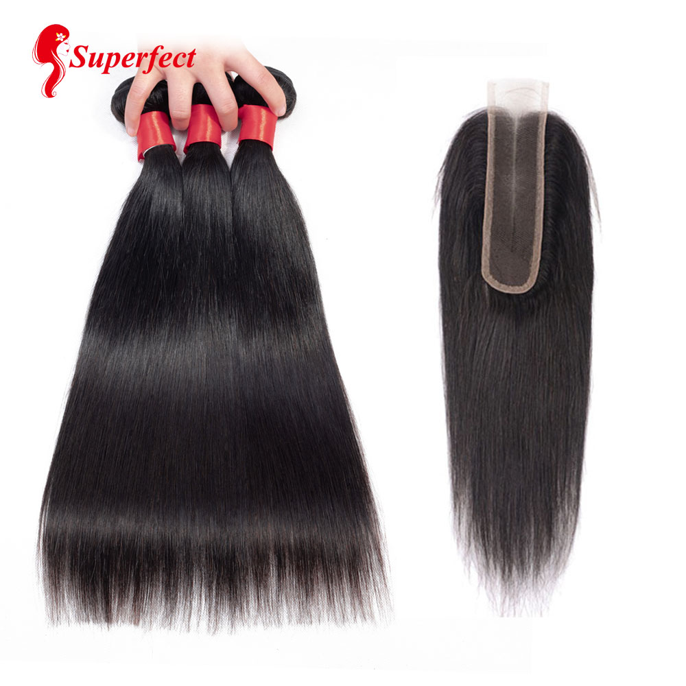 Peruvian Straight Human Hair Bundles With 2 6 Lace Closure Natural Color 8 26 Inch Non