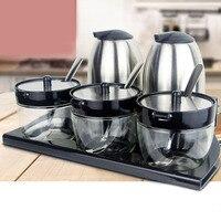 5pcs Kitchen Supplies Apple Shape Stainless Steel Condiment Pot Spice Container Salt Sugar Bowl Serving Jars