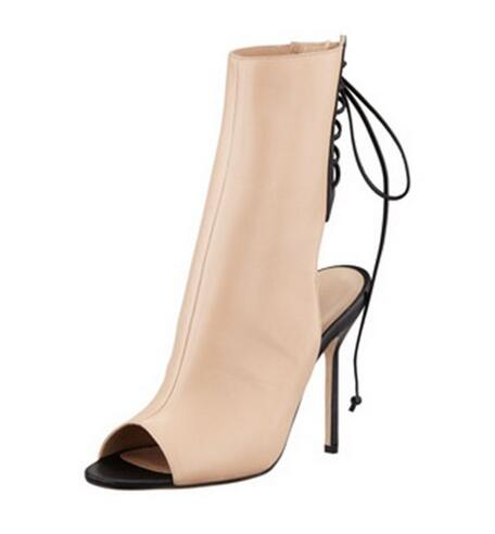 Top Quality Beige Black Open Heel Ankle Bootie Peep Toe Cut-out Gladiator Sandals Boots For Women High Heel Dress shoes woman timesize women clear heel transparent boots peep toe ankle boots bootie perspex lucite summer shoes sandals block heel pumps