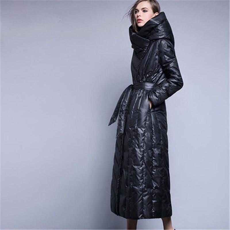 Dicke Us154 Weibliche europäischen Jacke Extra Frauen Mit Parka Ente Stil Schwarz Lange Daunenmantel 2018 Gürtel Warme Hohe 79 Kapuze 50Off xeorWdCB