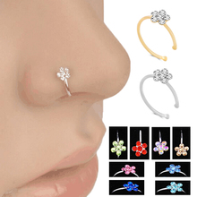 Women Fashion Jewelry Ring Crystal Flowers personality Nosering Body