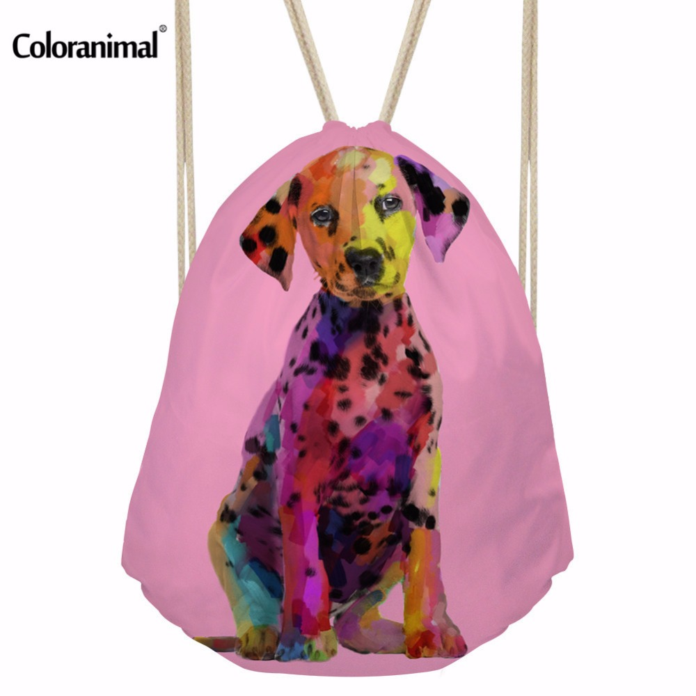 Coloranimal Art Paint Beagle Dog Print Women Drawstring Bag Casual Terrier Pattern Cinch Sack Backpack Men String Shoulder Bags ...