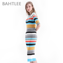 BAHTLEE Sexy Bodycon Dresses Women O Neck  long sleeve stretchy Club Party Midi Dress Knitted Sweater Casual Pencil Long Dress недорого