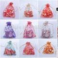 NMNVCM  l!100 Random Multi-Color Bronzing Pattern Drawable Organza Wedding Gift Bags&Pouches,Jewelry Packaging 10x15cm