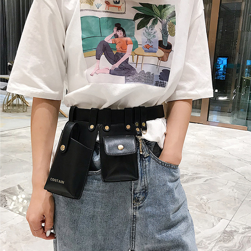 Waist Belt Bag Women Luxury Designer Fanny Packs 2019 Fashion Leather Phone Pouch Punk Waist Bag Belt Female Purse Waist Packs