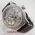 Luxe 44mm PARNIS Hollow heren horloge lichtgevende handen 17 juwelen mechanische 6497 skeleton hand kronkelende beweging mannen horloge