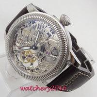 Luxury 44mm PARNIS Hollow men's watch luminous hands 17 jewels mechanical 6497 skeleton hand winding movement Men's watch