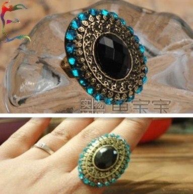 Wholesale 24pcs/Lot  Fashion bronze Big oval blue rhinestone crystal gem stone finger ring jewelry free shipping