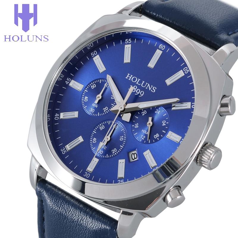 Prix pour Hommes de quartz holuns mode top marque wristwatche noir grand cadran en cuir hommes montres top marque de luxe relogio masculino