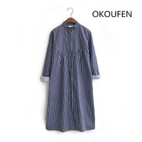 Women S Spring Stripe Medium Long Brief Loose Shirt Three Quarter Sleeve One Piece Dress