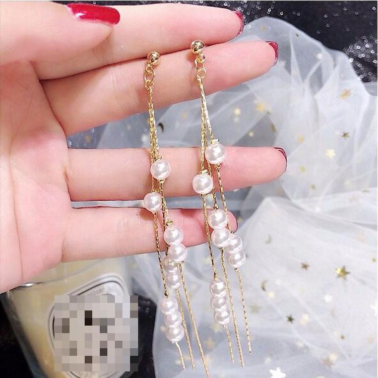 Silver Needle Korean Fashion Lady Sweet Imitation Pearl Tassel Long Earrings For Women 2019 Luxury Earrings Crystal Earrings