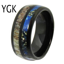 YGK Wedding Jewelry Deer Antler Inlay Black Dome Tungsten Rings for Mens Bridegroom Engagement Anniversary Ring