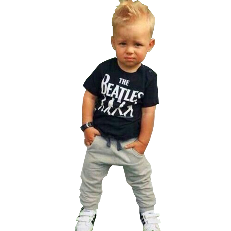 ZOETOPKID Summer Boys Clothing Sets Letter Printed T-shirts + Pants 2pcs Set Baby Boys Clothing For 18M-5 Years Boys Sports Suit