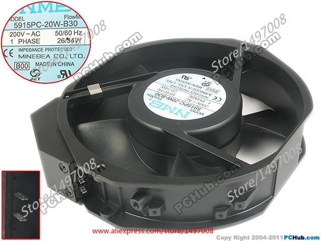 все цены на Free Shipping For NMB New 5915PC-20W-B30, B00 AC 200V 34W 2-pin 172x150x38mm Server Round Cooling fan онлайн
