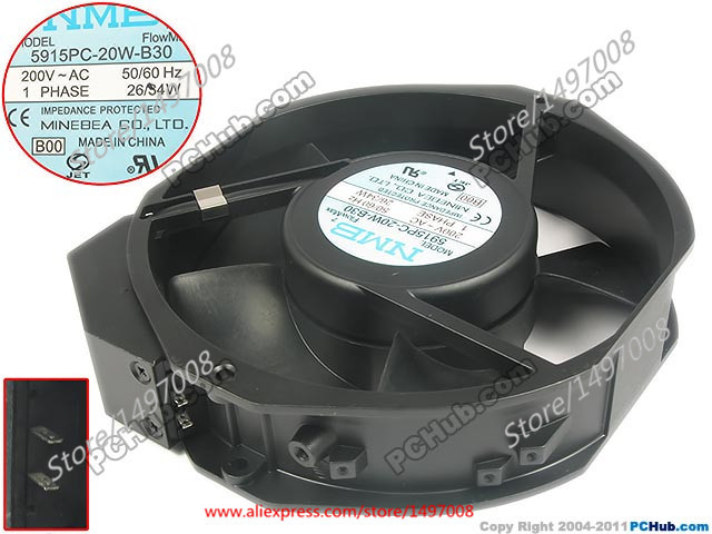 NMB-MAT New 5915PC-20W-B30, B00 AC 200V 34W 172x150x38mm Server Round fan take two