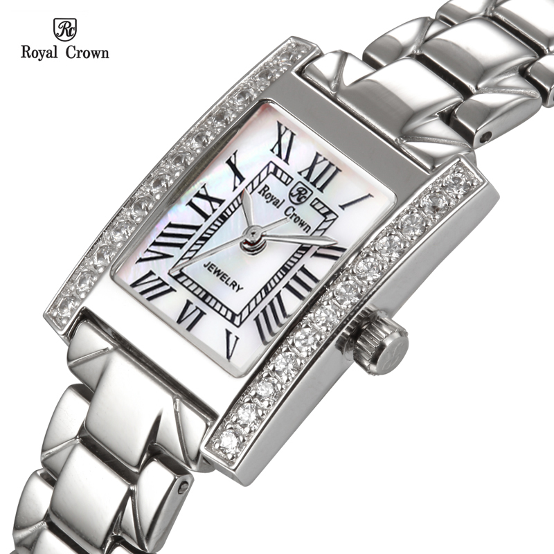 все цены на Luxury Prong Setting Women's Watch Fine Fashion Hours Mother-of-pearl Bracelet Rhinestone Crystal Girl's Gift Royal Crown Box