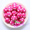 Free Shipping 100PCS/Lot Hot Pink 20MM Resin Polka Dot Beads, Resin Round Chunky Beads for Chunky Necklace Jewelry