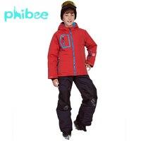 Зимний лыжный костюм Phibee для мальчиков, теплые непромокаемые ветрозащитные комплекты для сноуборда, зимняя куртка, детская одежда, одежда д