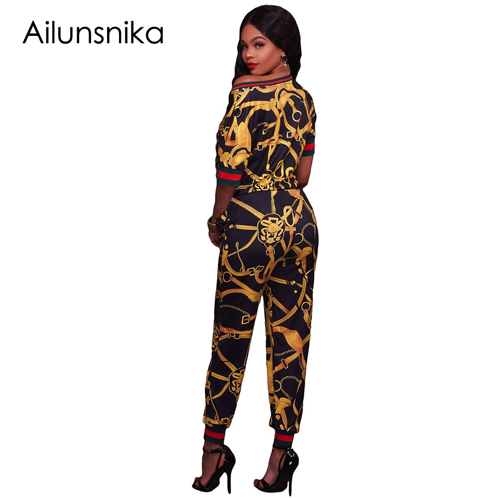 Ailunsnika 2018 Autumn Dashiki Print Rompes Women Two Piece Set African Vintage Bodycon Sexy Jumpsuit Casual Tracksuit DL62071