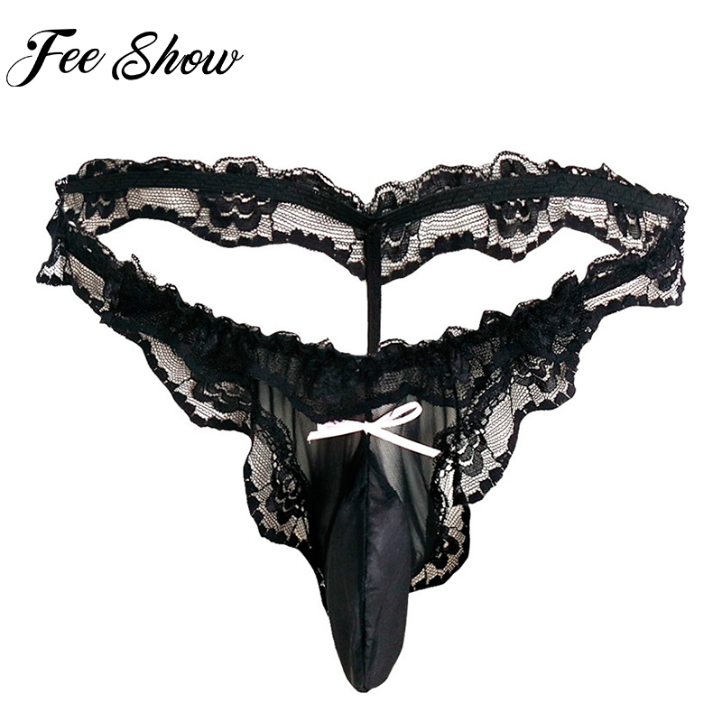 Feeshow Newest Flirty Sexy Sissy Men Lingerie Stretchy See-through G-string Pouch Lace Ruffles Gay Underwear Open Butt Low Waist